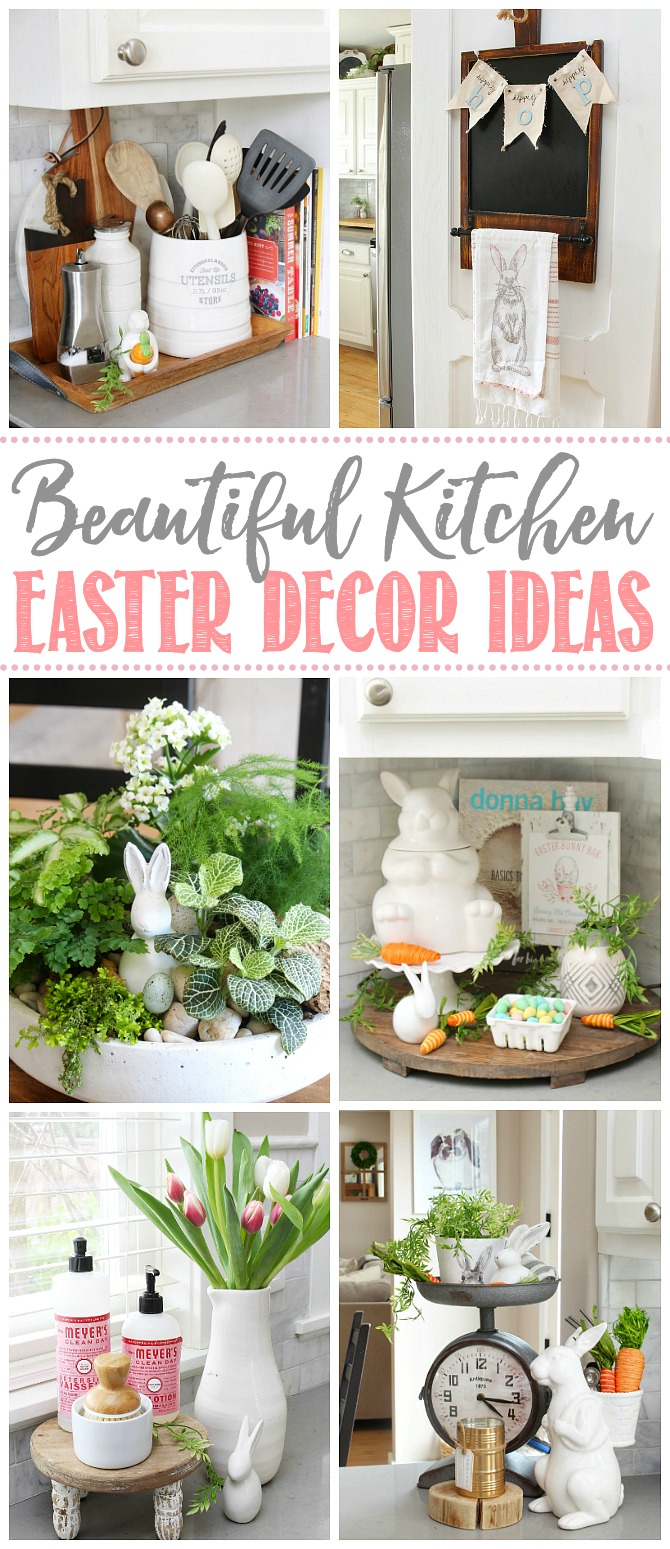 Collage of beautiful kitchen Easter decor ideas.