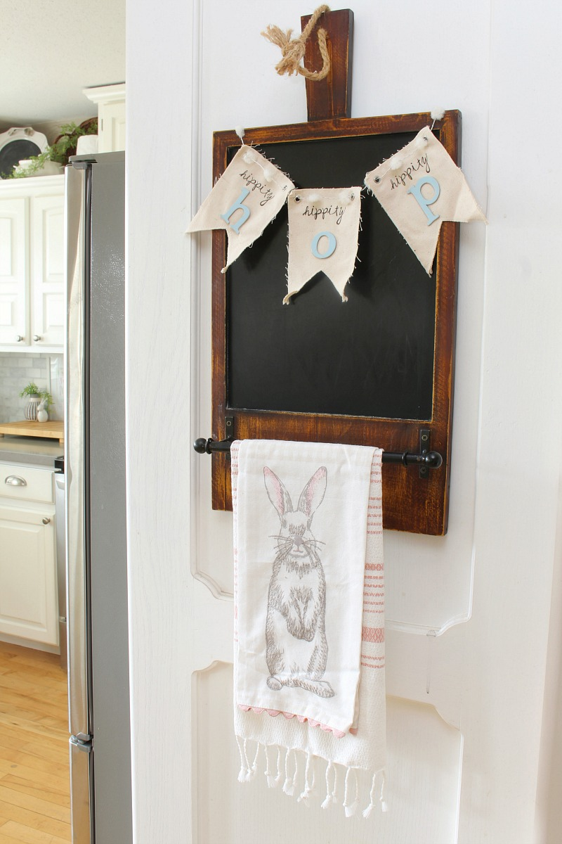 Easter chalkboard with Hippity Hop banner.