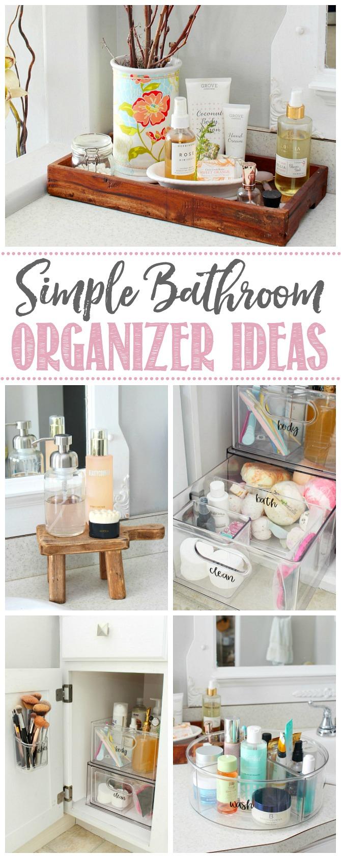 Collage of simple bathroom organizer ideas.