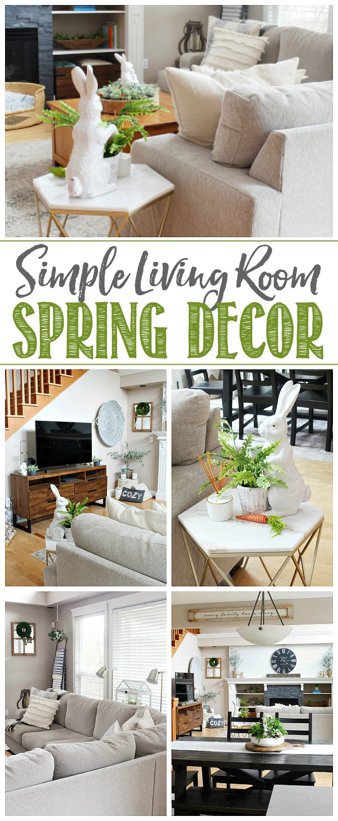 Simple Living Room Spring Decor. Collage of easy spring decor ideas for a transitional style living room.