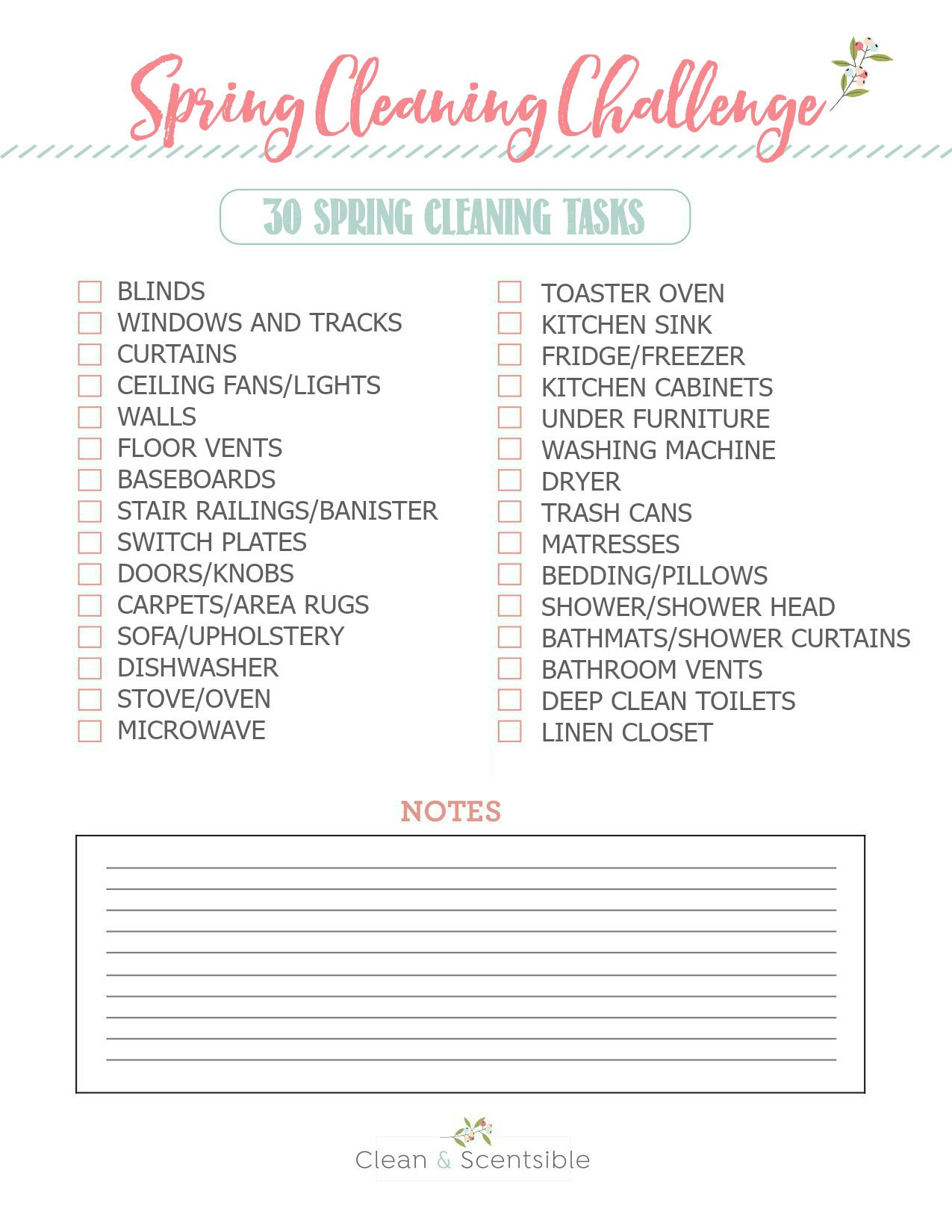 Free printable spring cleaning challenge checklist.