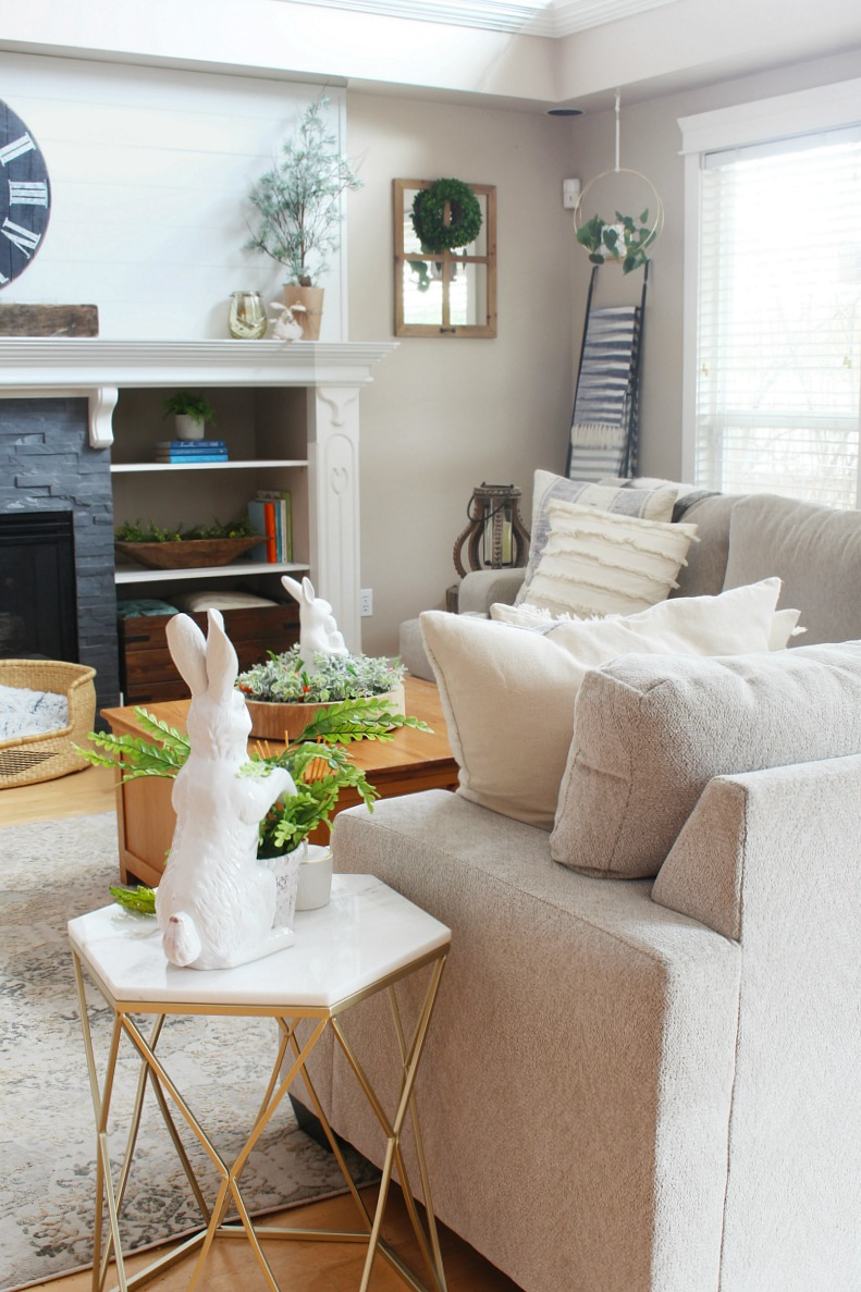 Transitional style family room decorated for spring.