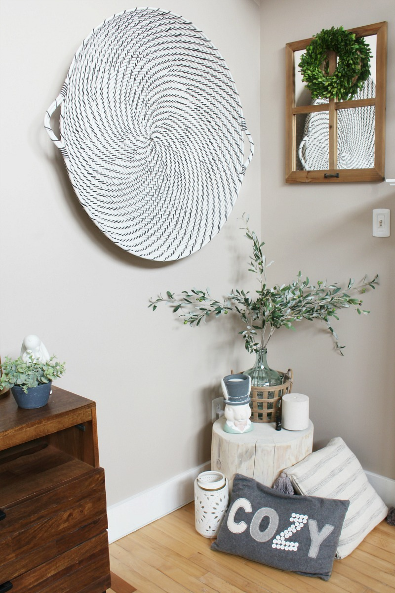 Simple spring and Easter decor in a modern farmhouse style family room.