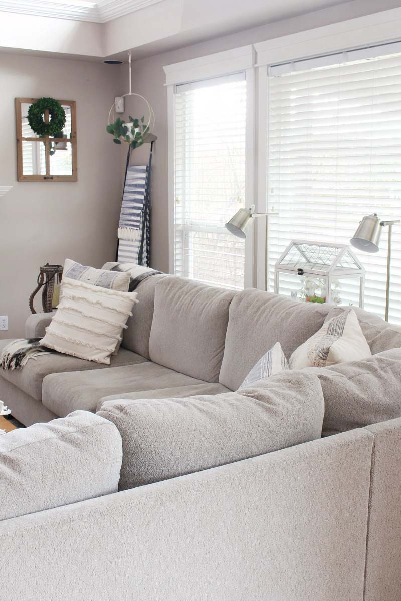 Modern farmhouse style family room with sectional sofa.