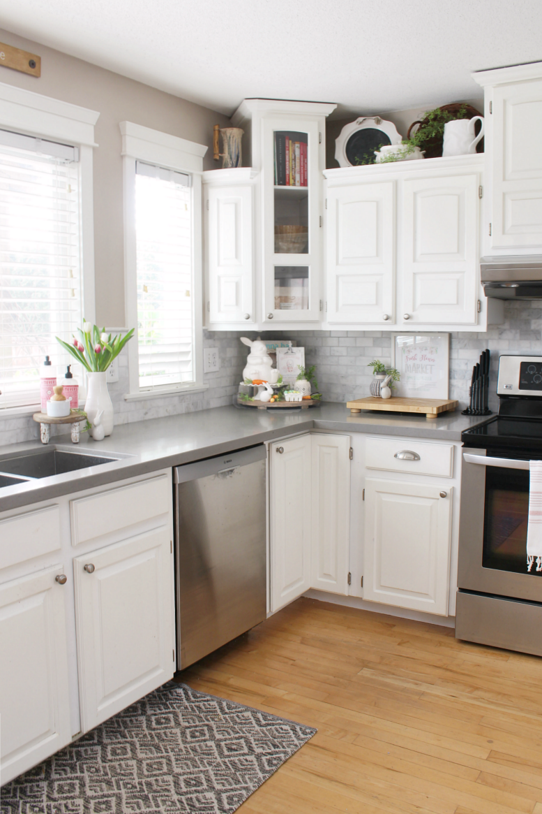 White modern farmhouse style kitchen decorated for Easter.