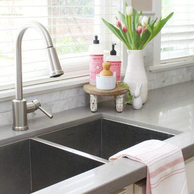 Pretty kitchen sink and garbage disposal.