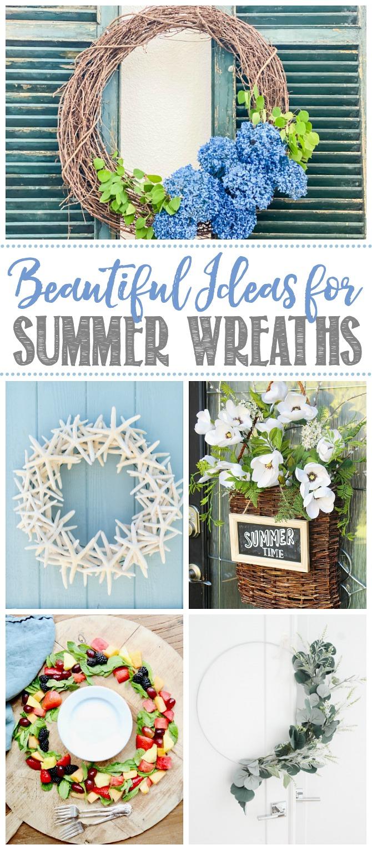 Collage of beautiful summer wreath ideas.