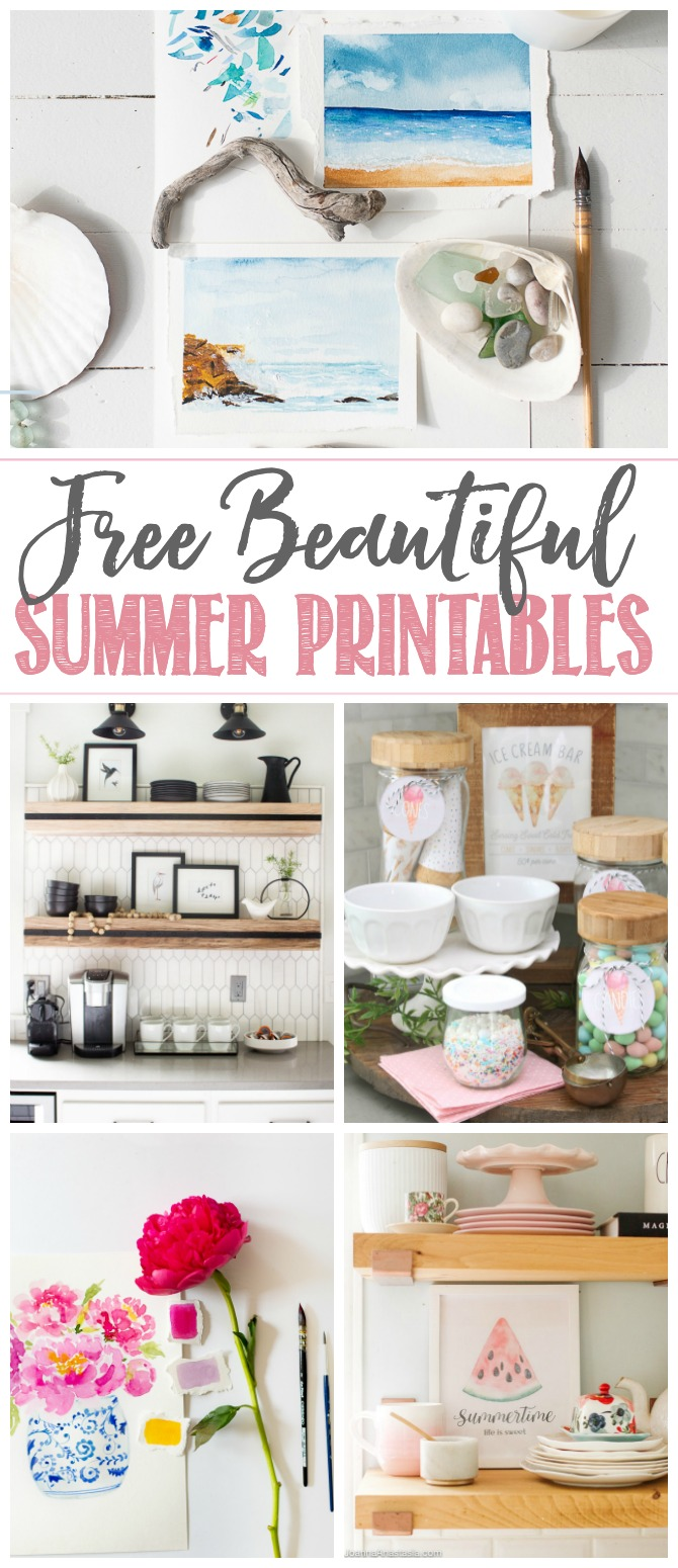 Beautiful collection of free summer printables.