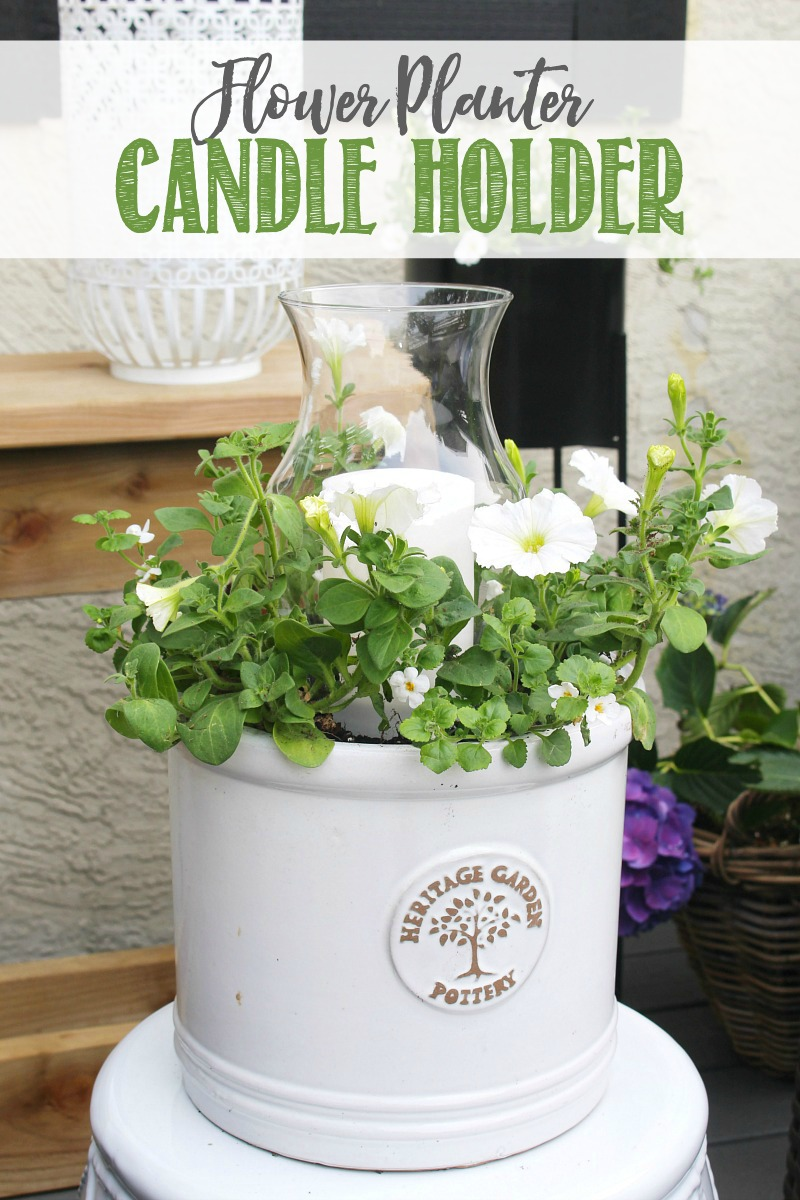 Easy DIY outdoor planter with candle holder.