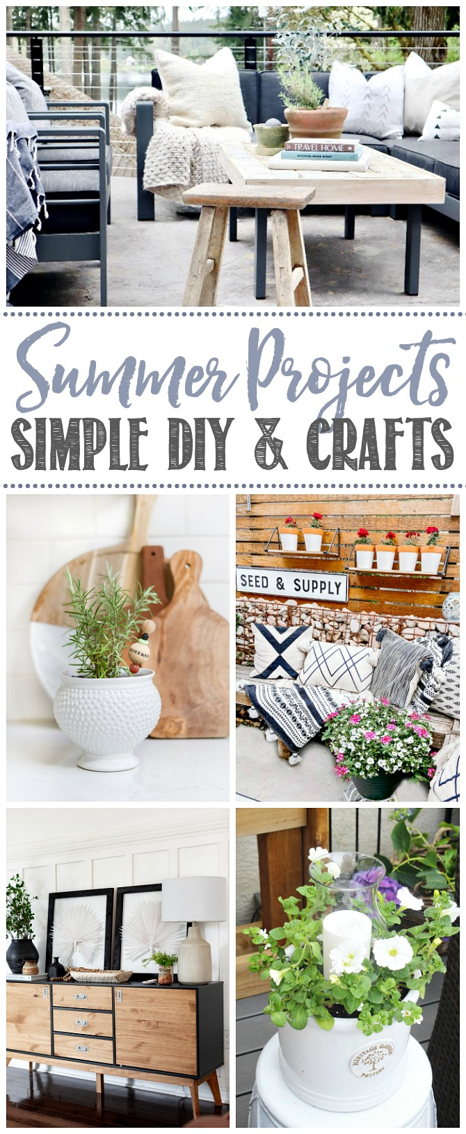 Collage of simple DIY and craft ideas. Summer projects that anyone can do.