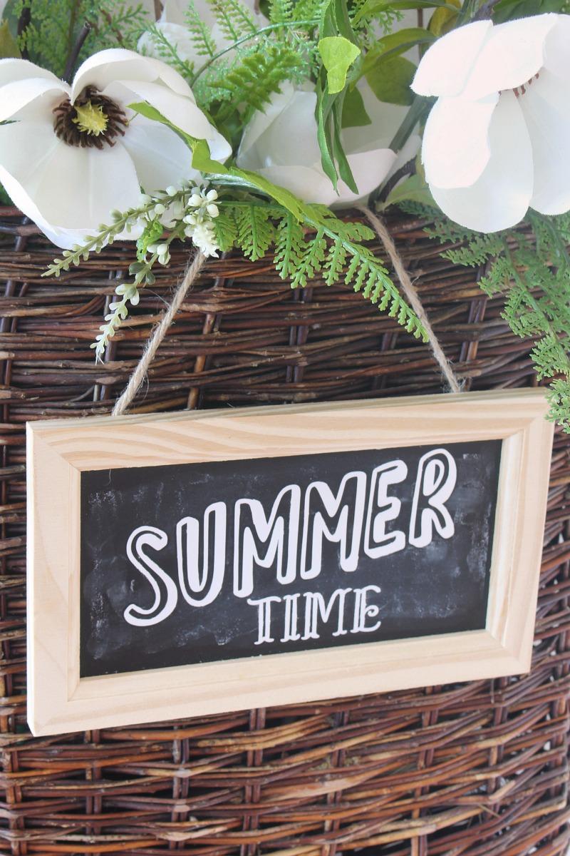 Summer time chalkboard sign on summer basket wreath.