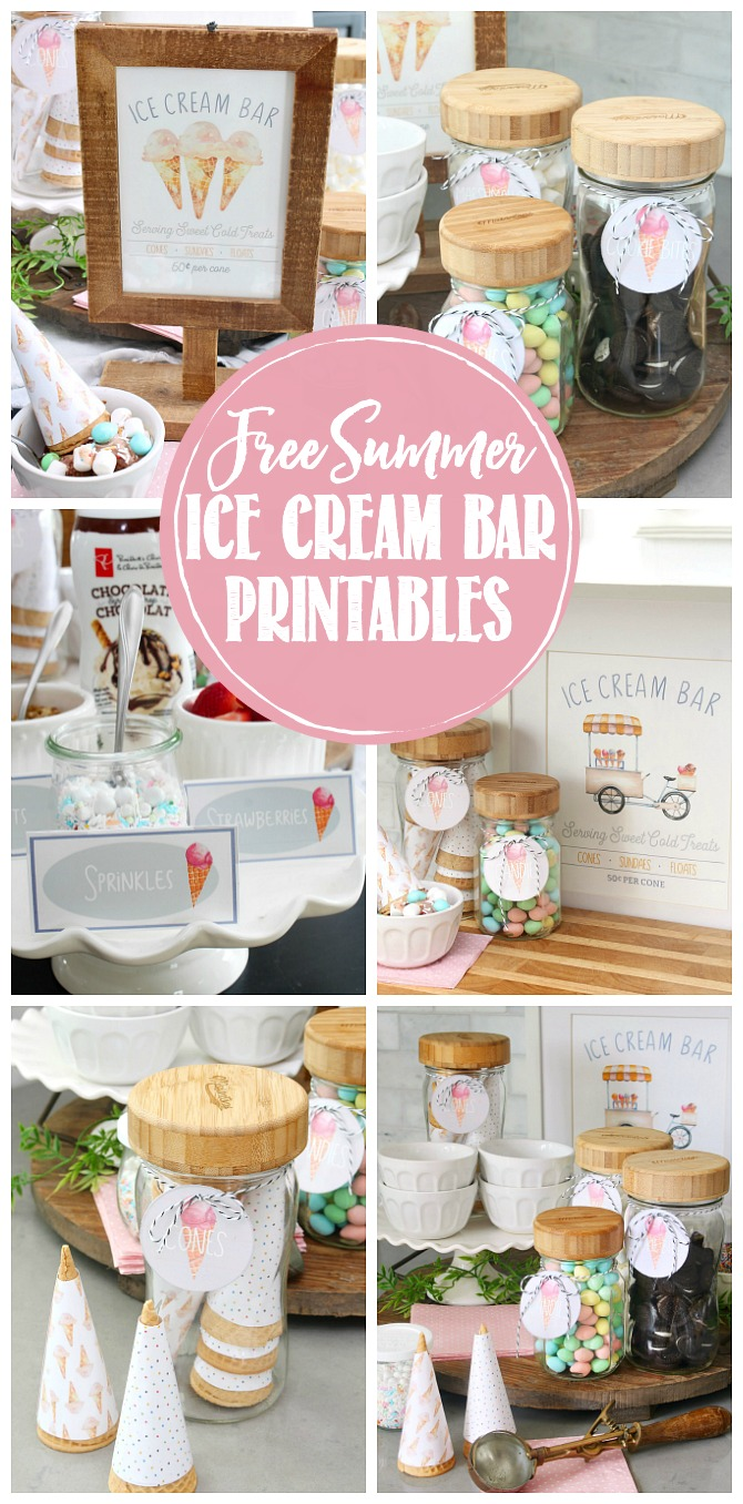 Collection of free ice cream bar printables and ice cream bar ideas.
