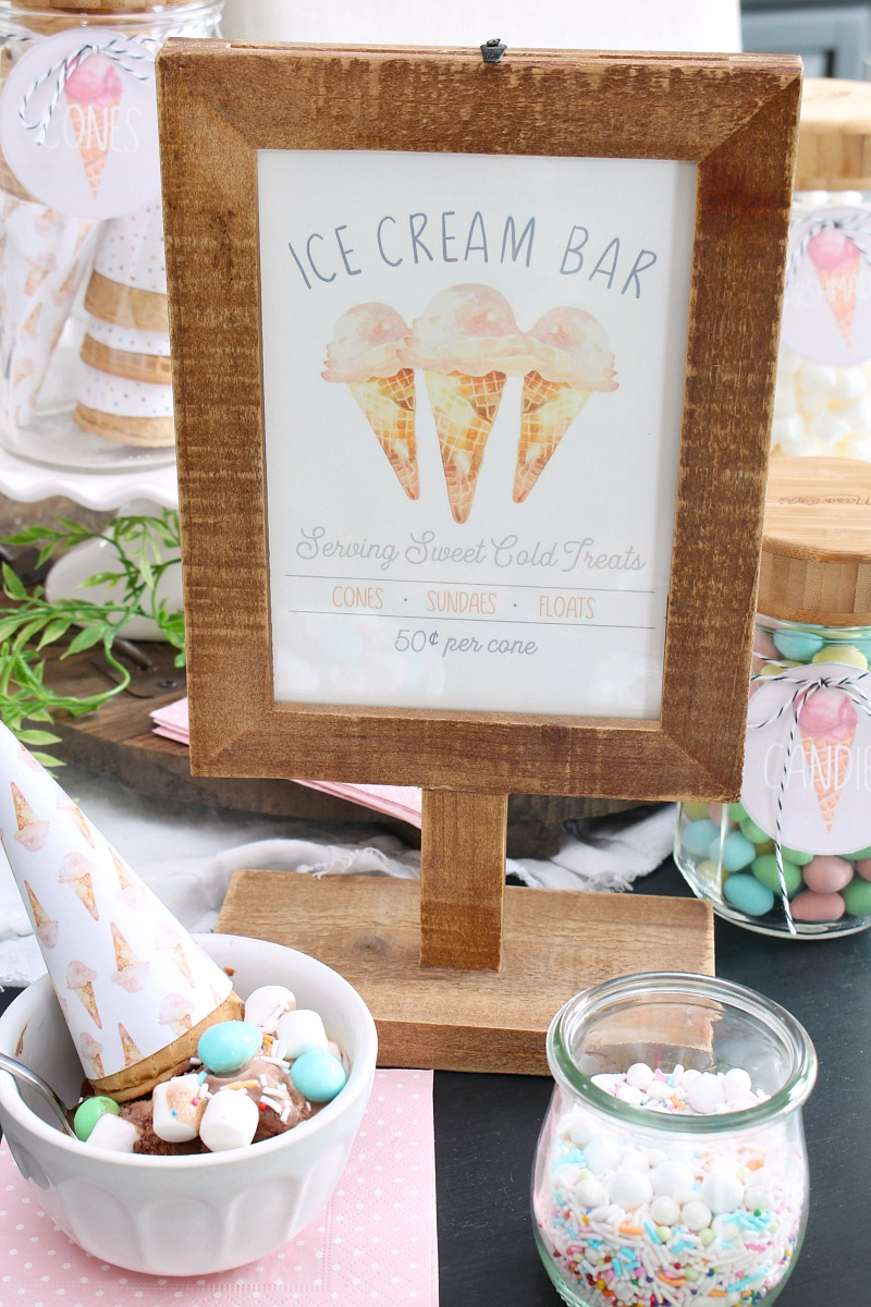 Ice Cream Bar printable in a wood pedestal frame.