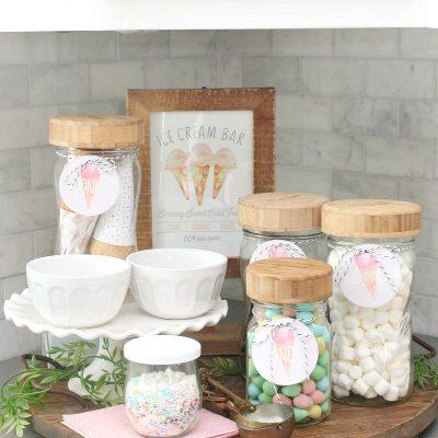 Ice cream sundae bar with free printables.