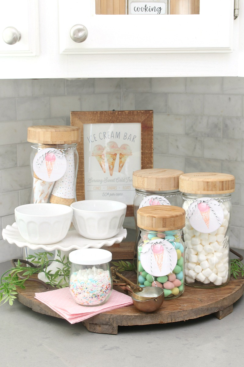 Ice cream sundae bar with free printables.