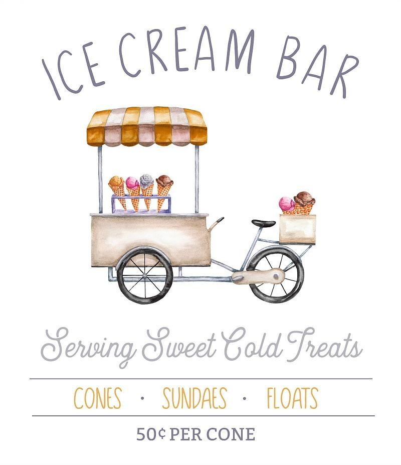 Ice Cream Bar free summer printable with ice cream cart.