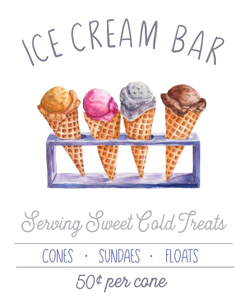 Ice Cream Bar free summer printable with ice cream cone stand.