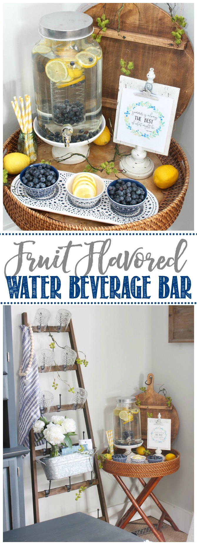 Fruit flavored water beverage bar with blueberries and lemons.
