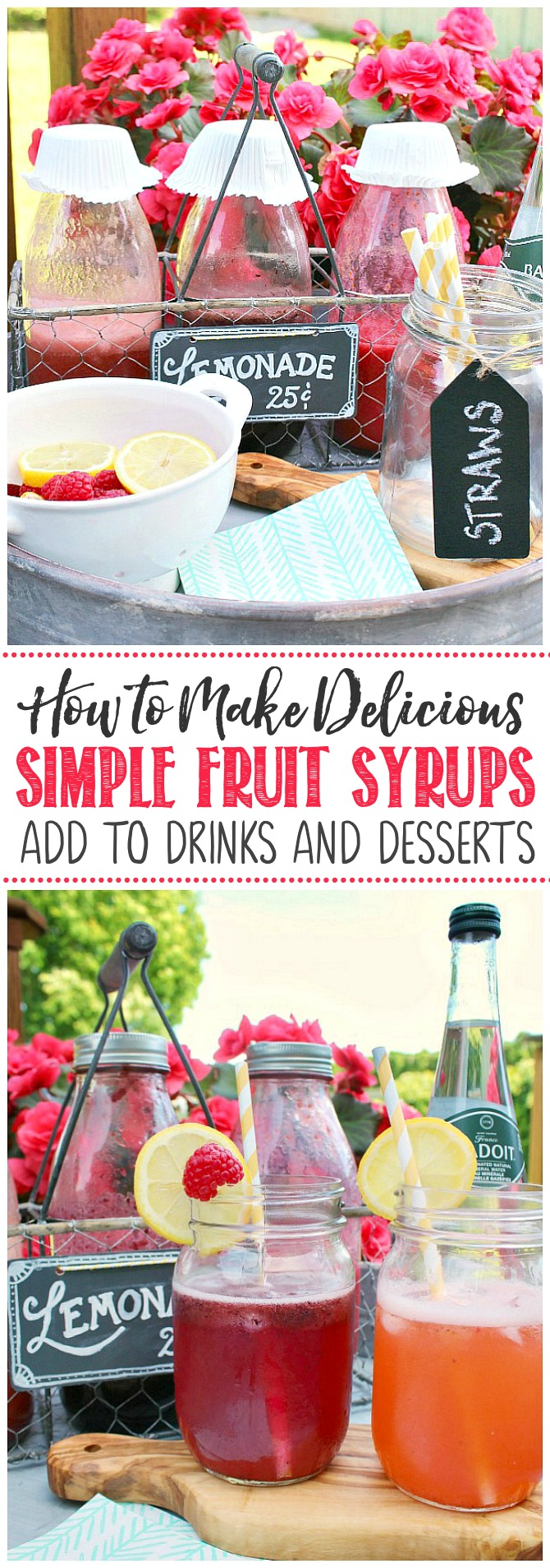 Delicious fruit syrups in glass jars to flavor lemonade.