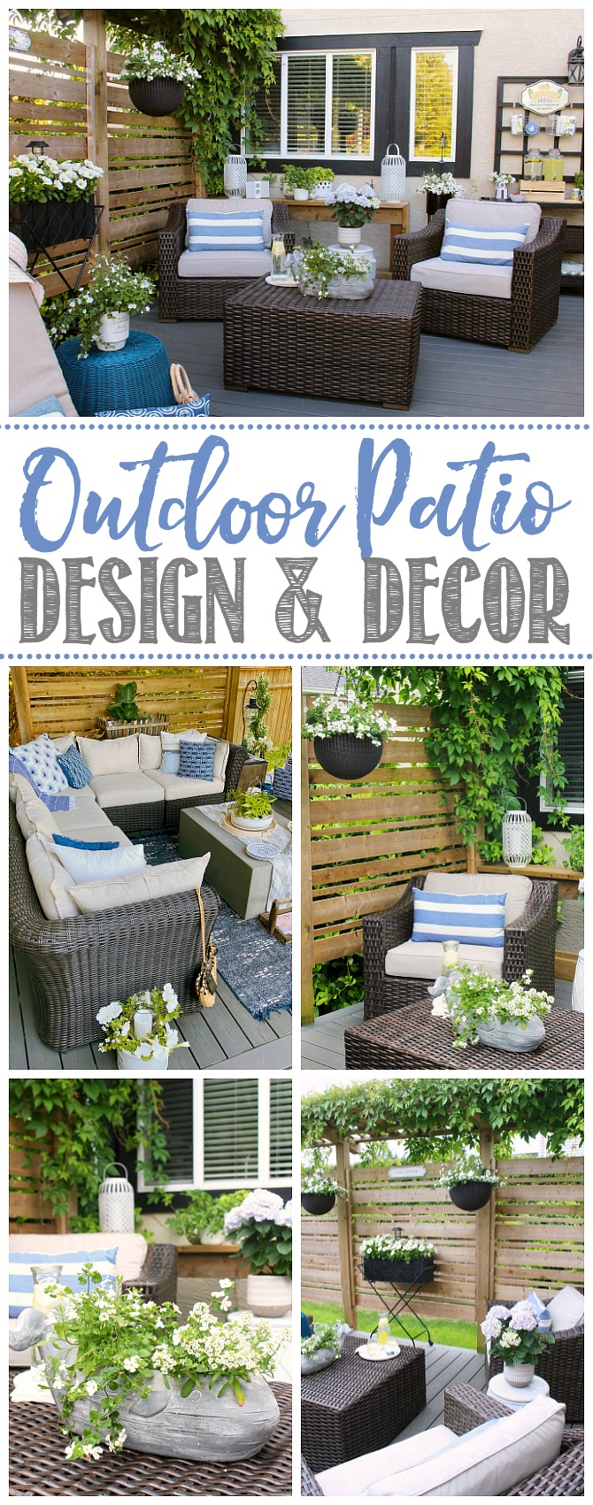 Collage of beautiful outdoor patio design ideas.