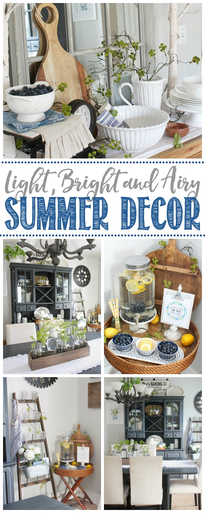 Collage of light, bright and airy summer decor ideas.
