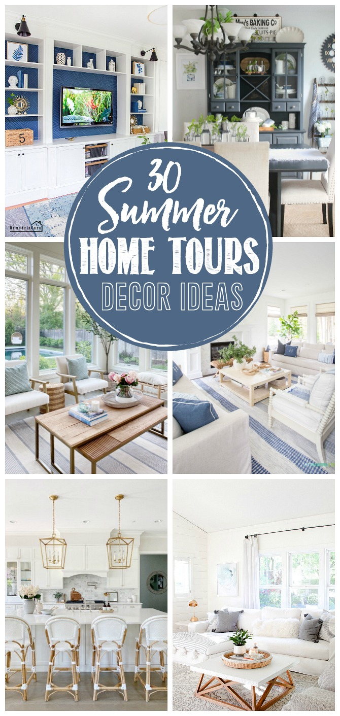 Collage of beautiful summer home tours and decor ideas.