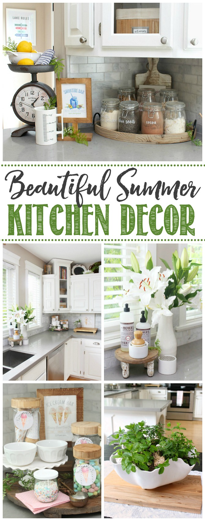Collage of beautiful summer ktichen ideas in a white farmhouse style kitchen.