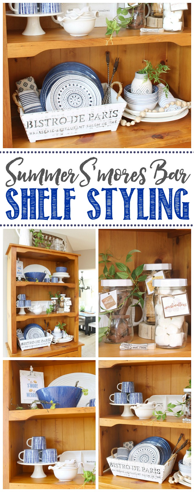 Wood hutch decorated for summer with blue and white.