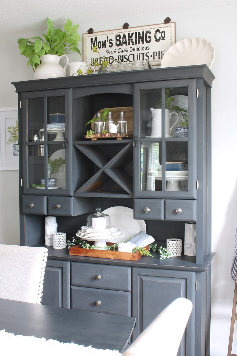 Black painted buffet and hutch decorated for summer.