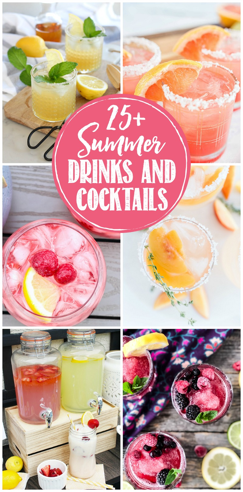 Collage of delicious summer drinks and cocktails.