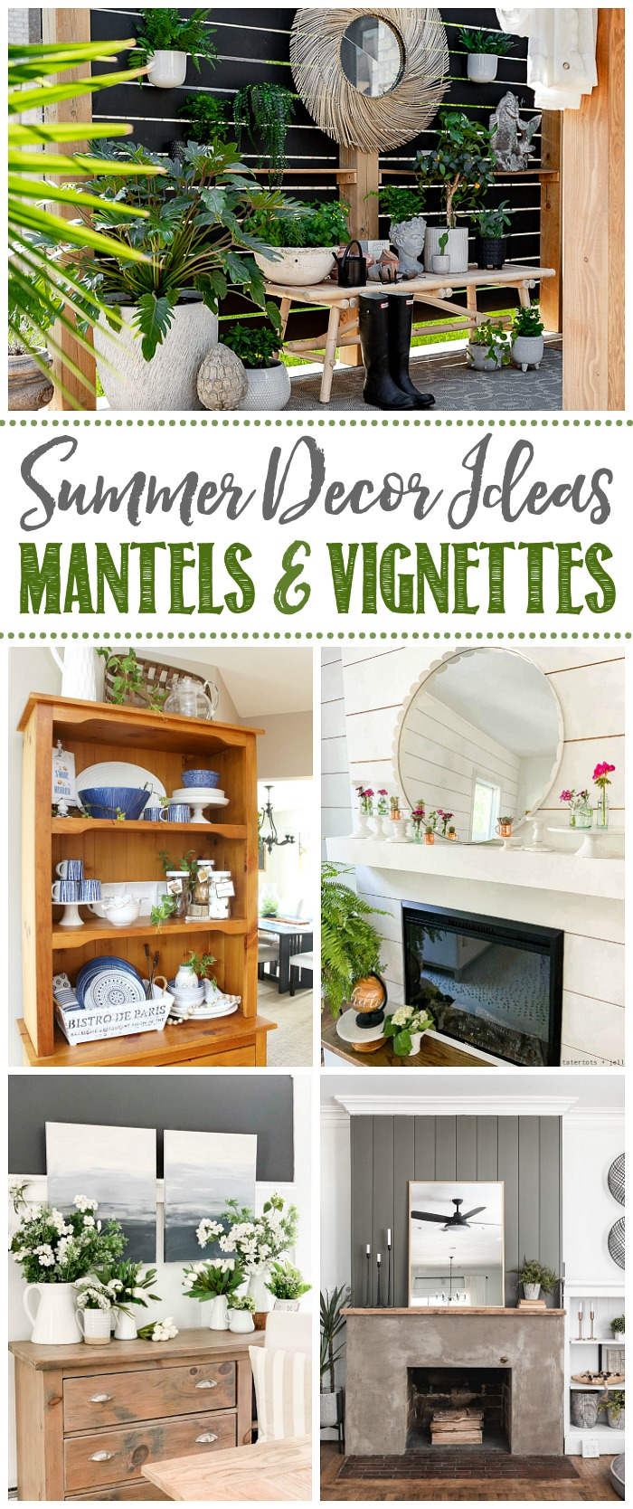 Collage of pretty summer mantel and vignette ideas.
