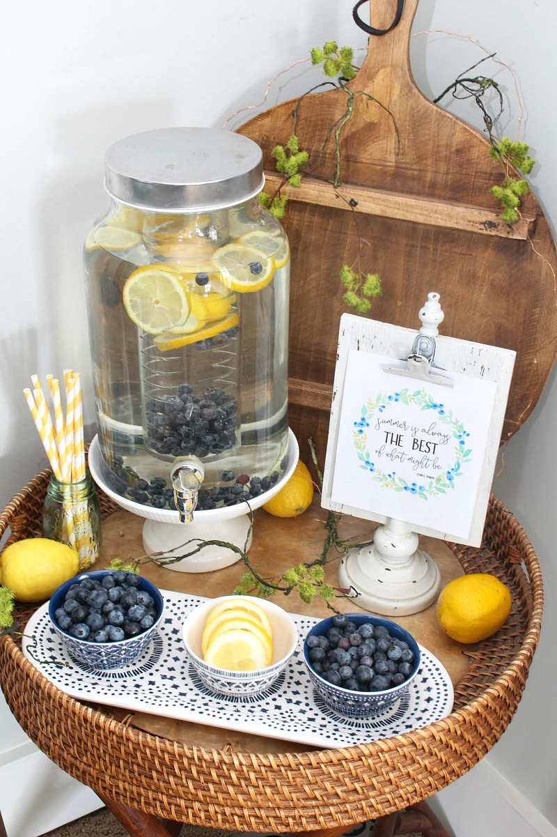 Summer flavored water beverage bar with lemons and blueberries.