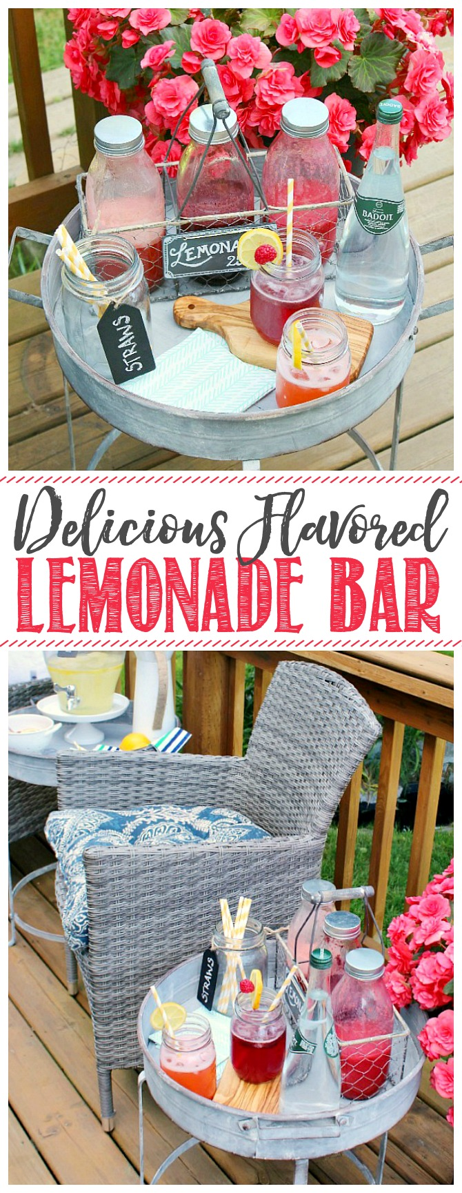 Flavored lemonade bar on a galvanized table.