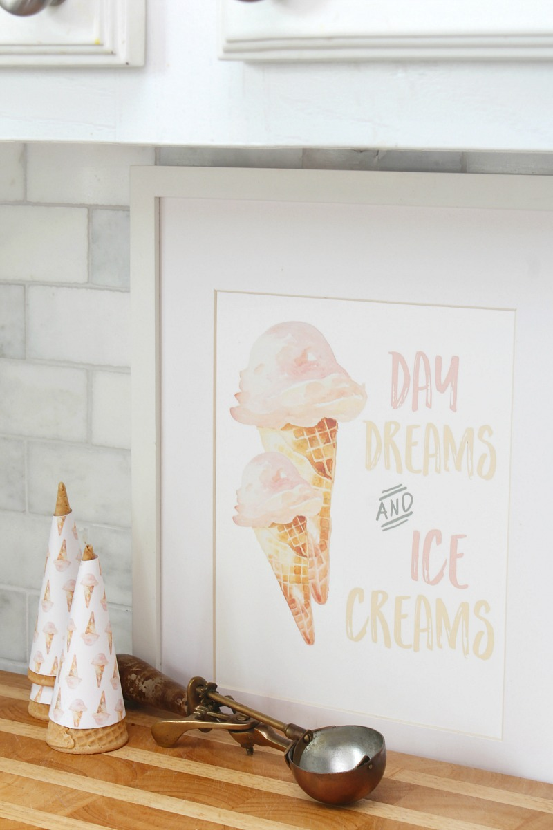 Ice cream cone printable in a white frame.