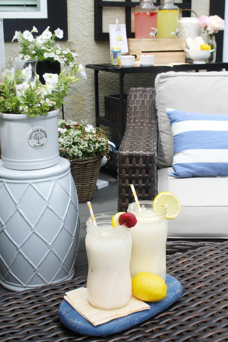 Lemonade floats on a summer patio.