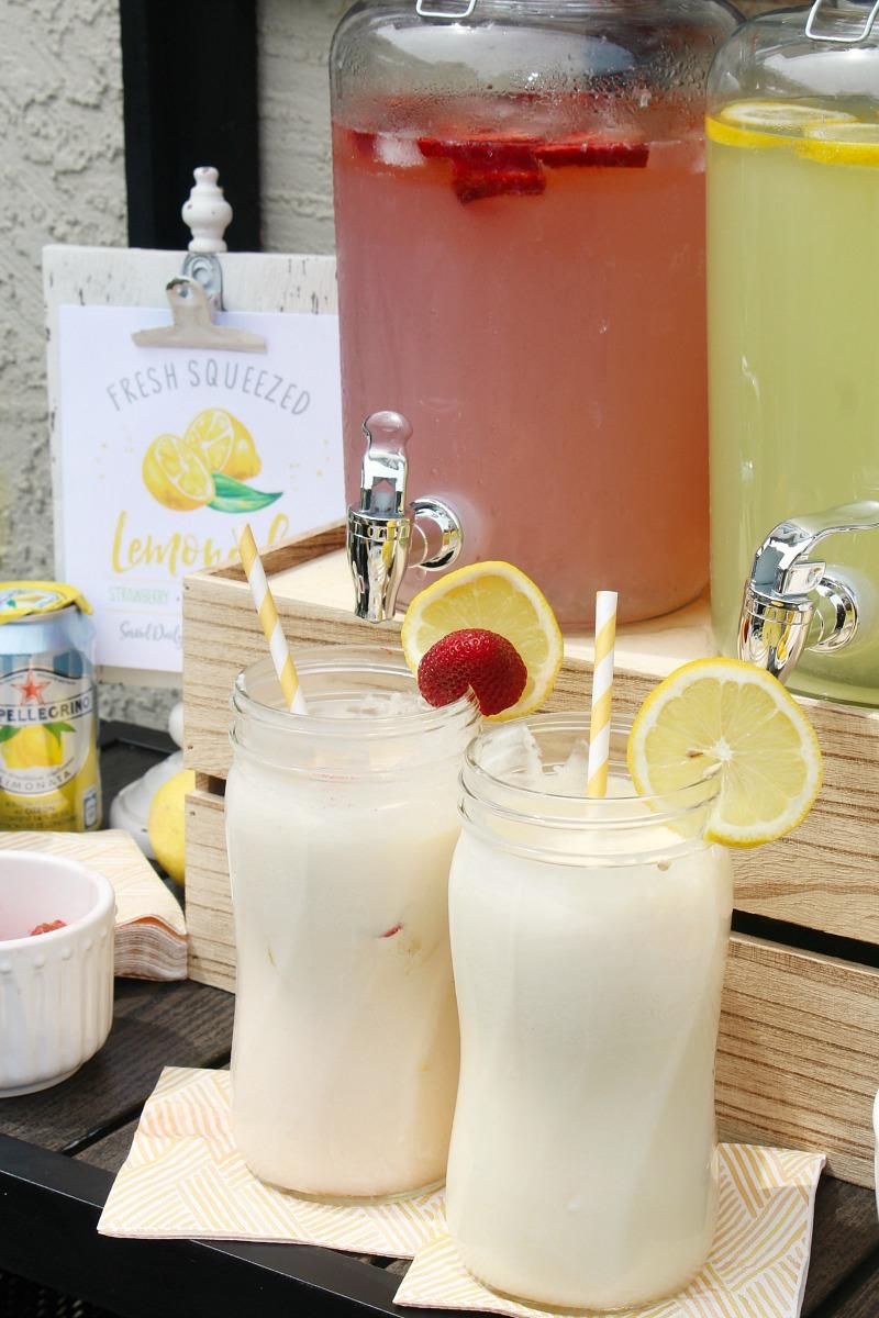 Lemonade floats in mason jars.