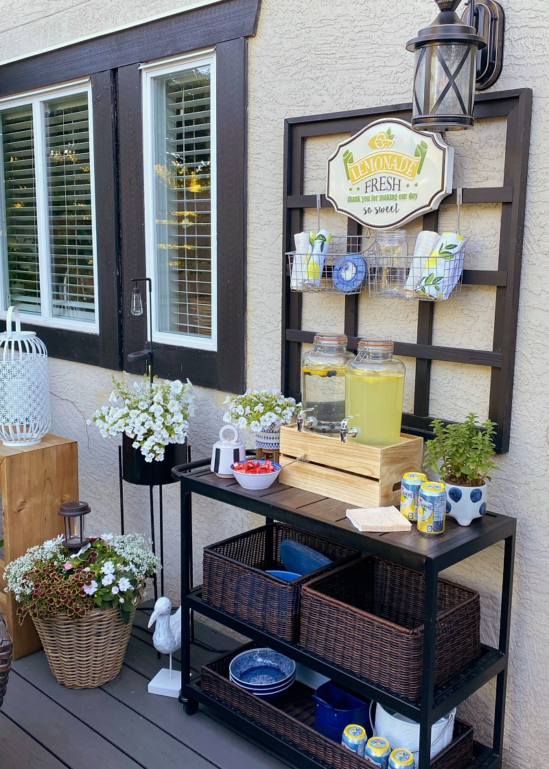Beverage bar on an outdoor patio.