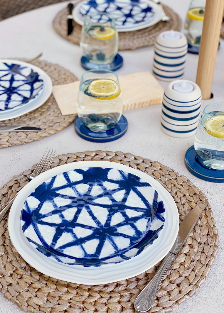 Pretty summer tablescape with blue and yellow accents.