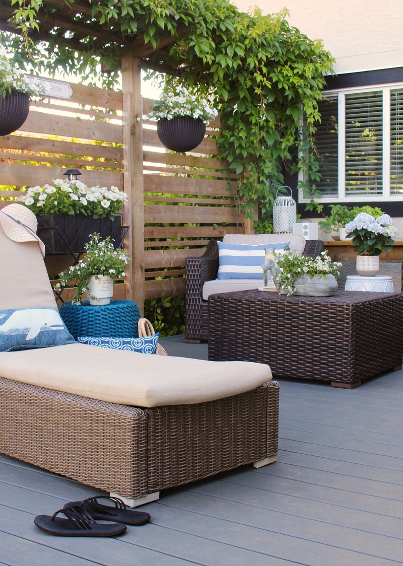 Outdoor patio with pretty resin patio furniture.