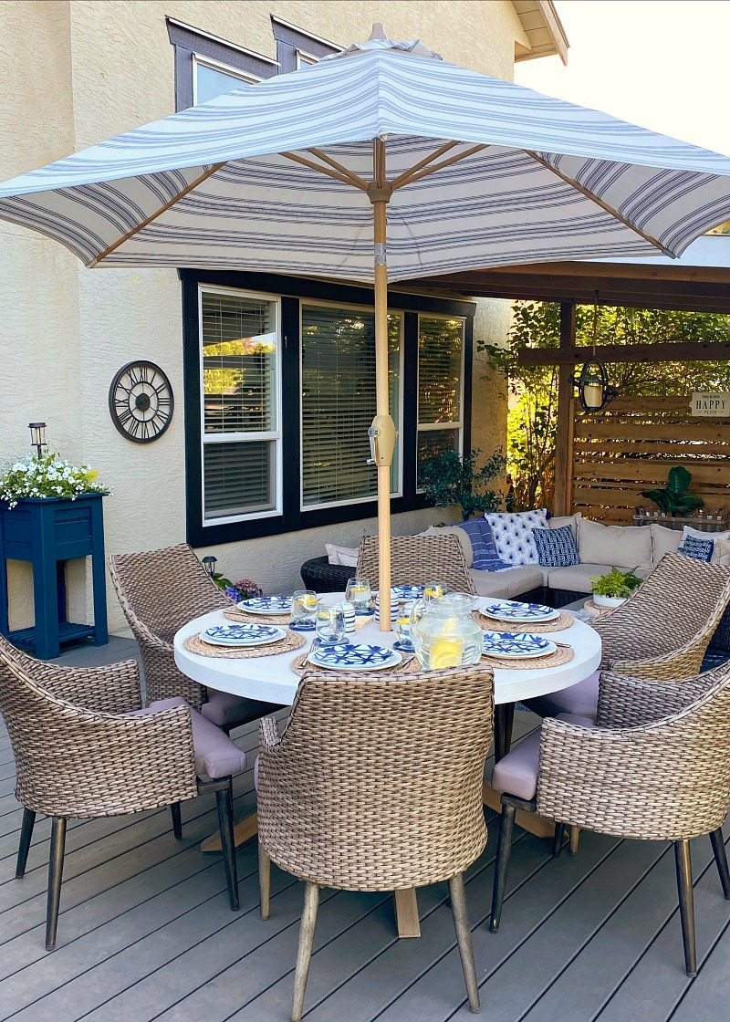 Outdoor patio with round patio table.