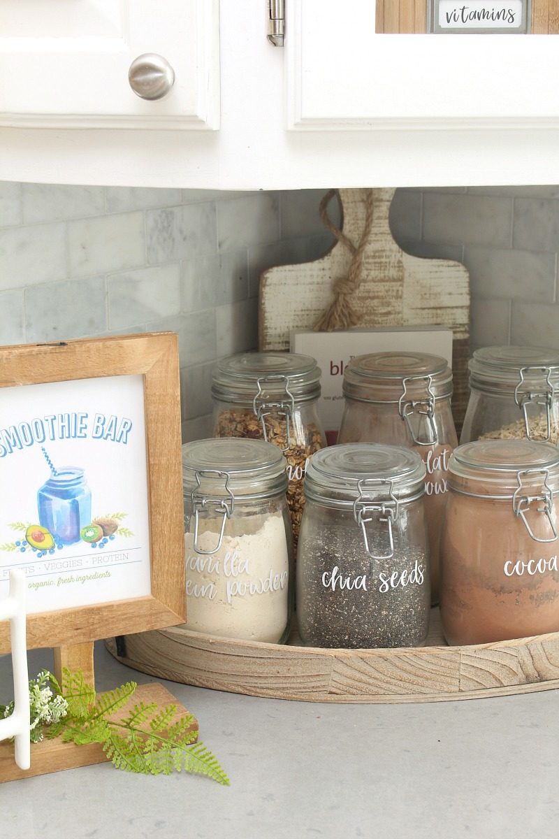Smoothie bar with free printable and labelled mason jars.