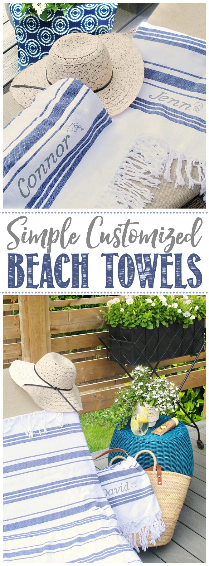 Custom beach towels on a patio lounger with sun hat.