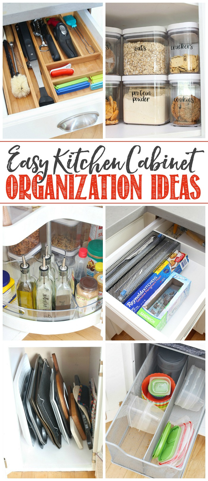 Collage of easy kitchen cabinet organization ideas.
