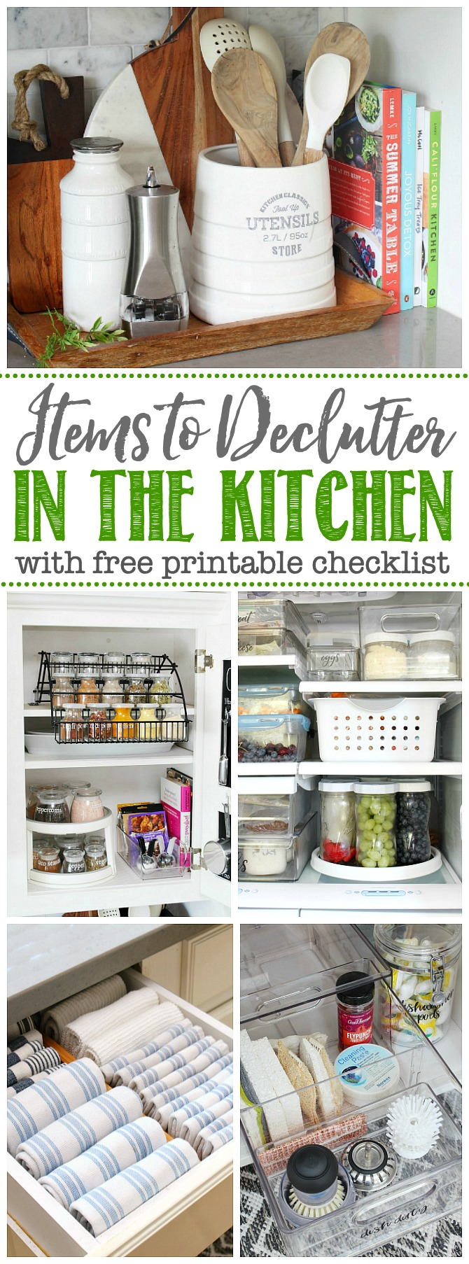 Collection of items to Declutter in the Kitchen.