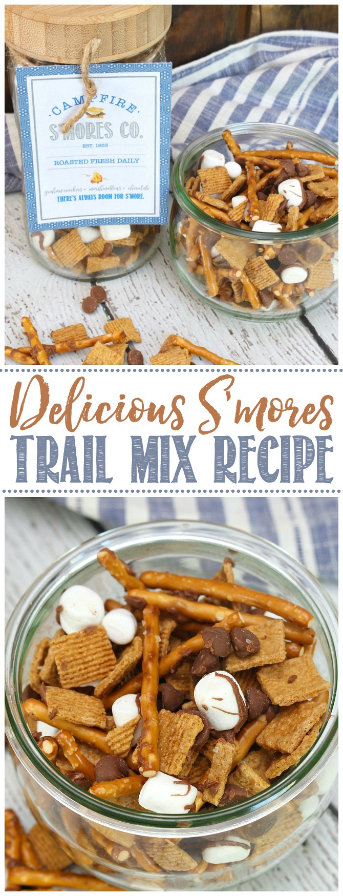 S'mores trail mix with Golden grahams, mini marshmallows, chocolate chips, and pretzel sticks drizzled in chocolate.