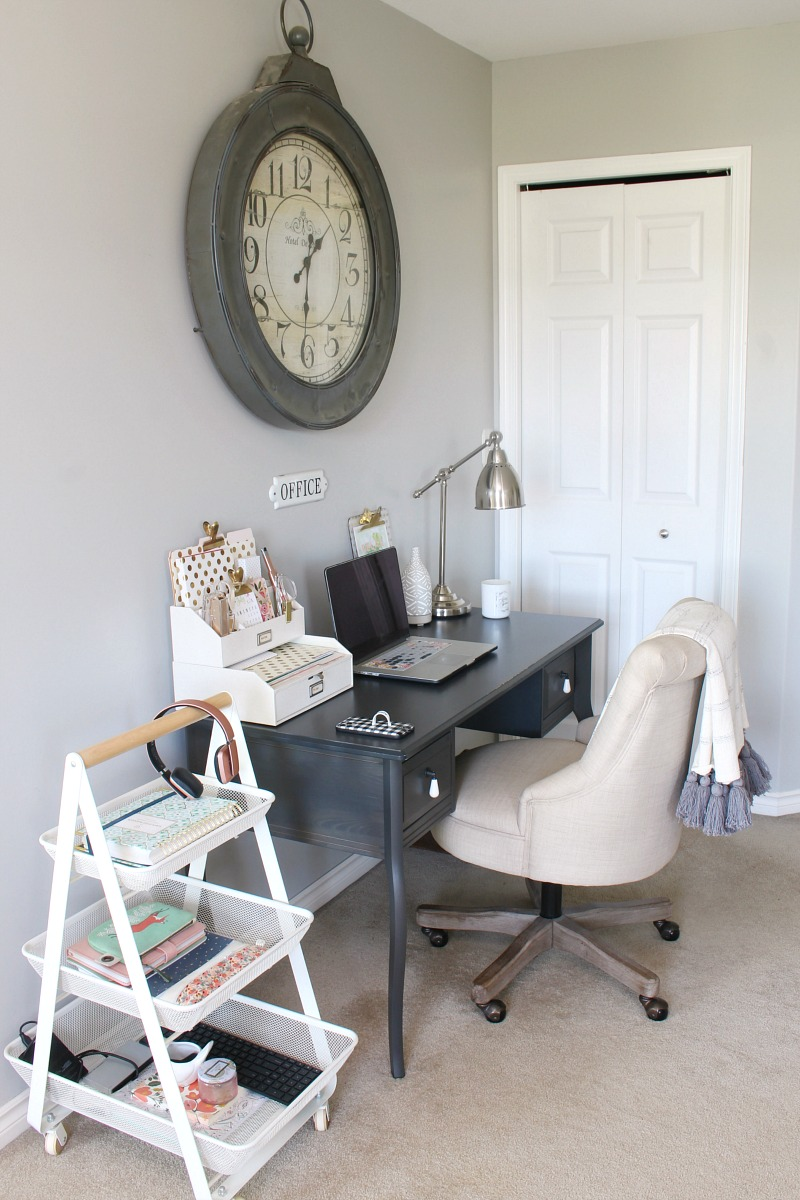 Small desk space in a master bedroom.