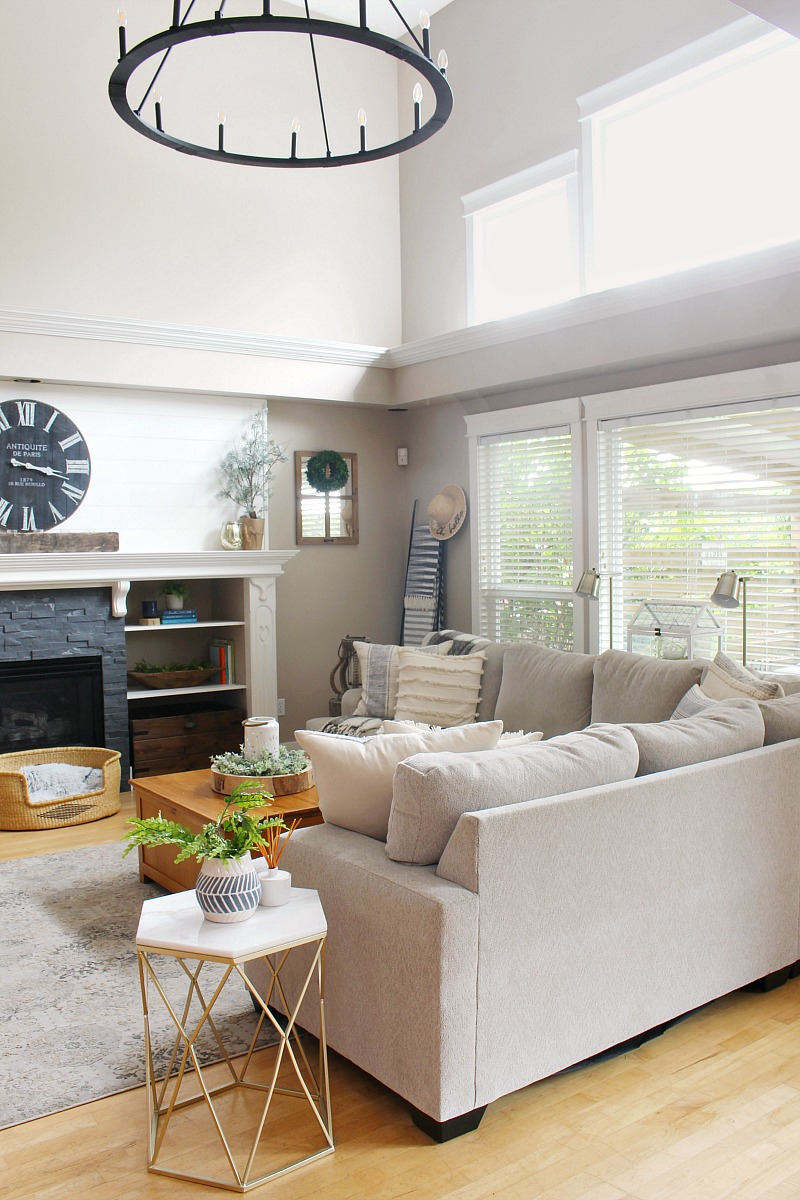 Modern farmhouse family room with sectional.