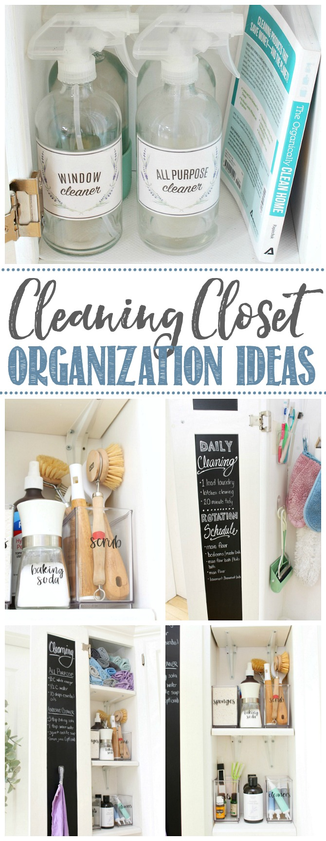 Organized cleaning closet with green cleaning products.
