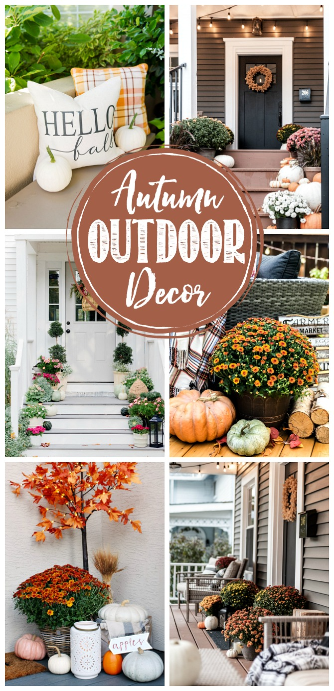 Collage of beautiful fall outdoor decor ideas.