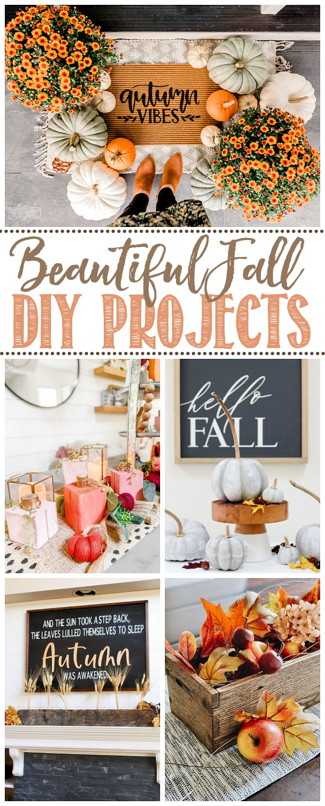 Beautiful collage of fall DIY projects.